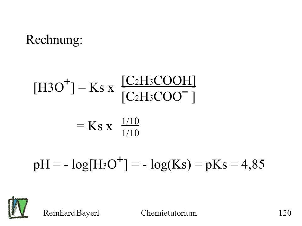 pH = - log[H3O ] = - log(Ks) = pKs = 4,85 [C2H5COOH] [C2H5COO ]